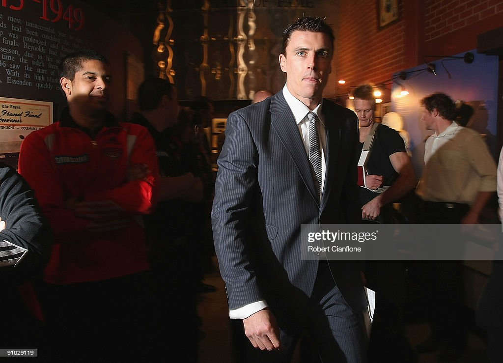 Matthew Lloyd of the Bombers arrives to announce his retirement at Windy Hill on September 23, 2009 in Melbourne, Australia.