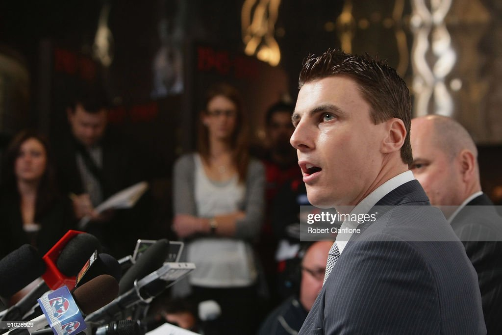 Matthew Lloyd of the Bombers talks to the media as he announces his retirememnt from AFL football at Windy Hill on September 23, 2009 in Melbourne, Australia.