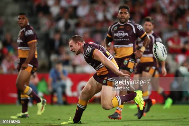 Matthew Lodge of the Broncos drops the ball during the round one NRL match between the St George Illawarra Dragons and the Brisbane Broncos at UOW...