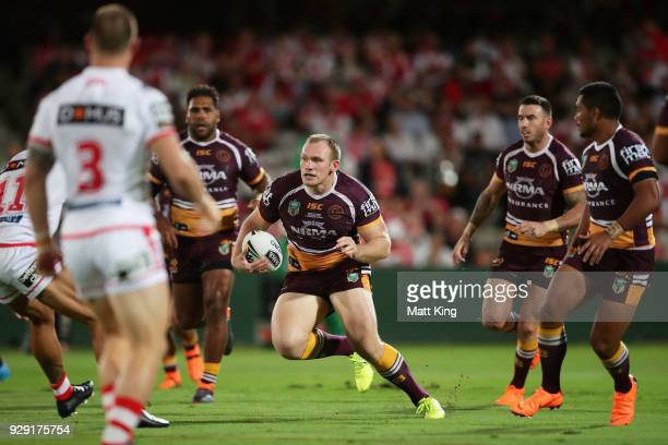Matthew Lodge of the Broncos runs with the ball during the round one NRL match between the St George Illawarra Dragons and the Brisbane Broncos at...