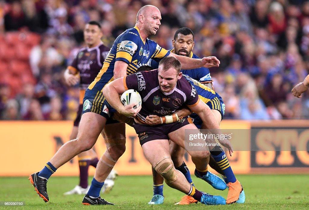 Matthew Lodge of the Broncos takes on the defence during the round 12 NRL match between the Brisbane Broncos and the Parramatta Eels at Suncorp Stadium on May 24, 2018 in Brisbane, Australia.
