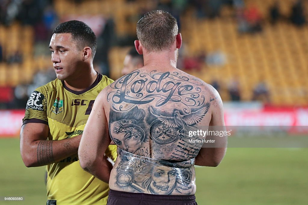 Matthew Lodge of the Broncos walks on the field after the round six NRL match between the New Zealand Warriors and the Brisbane Broncos at Mt Smart Stadium on April 14, 2018 in Auckland, New Zealand.