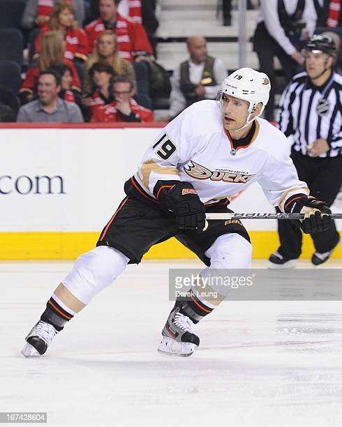 Matthew Lombardi of the Anaheim Ducks skates against the Calgary Flames during an NHL game at Scotiabank Saddledome on April 19 2013 in Calgary...