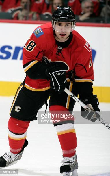 Matthew Lombardi of the Calgary Flames skates against the Colorado Avalanche on November 20, 2007 at Pengrowth Saddledome in Calgary, Alberta,...