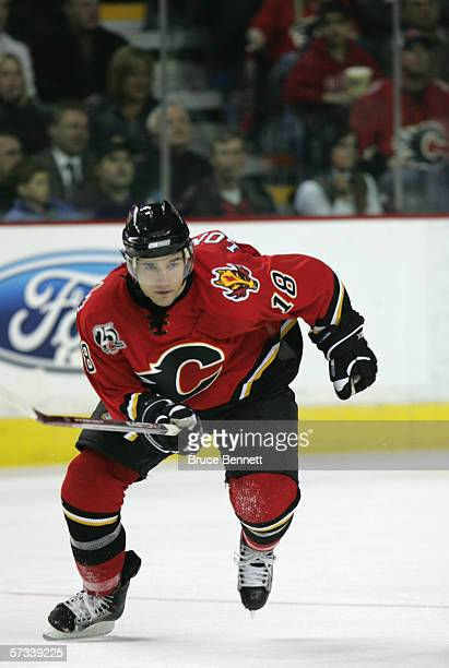Matthew Lombardi of the Calgary Flames skates during the game against the Los Angeles Kings on March 29 2006 at the Pengrowth Saddledome in Calgary...