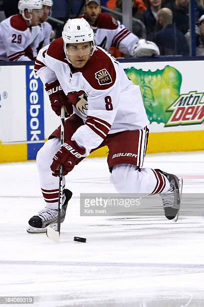 Matthew Lombardi of the Phoenix Coyotes controls the puck during the game against the Columbus Blue Jackets on March 16 2013 at Nationwide Arena in...