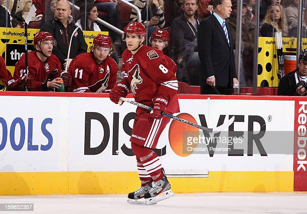 Matthew Lombardi of the Phoenix Coyotes in action during the NHL game against the Chicago Blackhawks at Jobingcom Arena on January 20 2013 in...