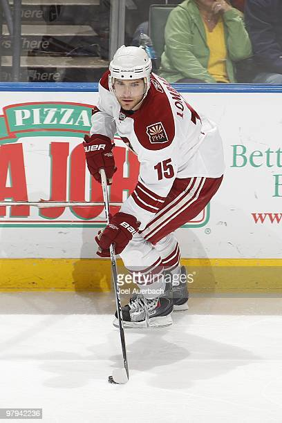 Matthew Lombardi of the Phoenix Coyotes skates with the puck against the Florida Panthers on March 18 2010 at the BankAtlantic Center in Sunrise...