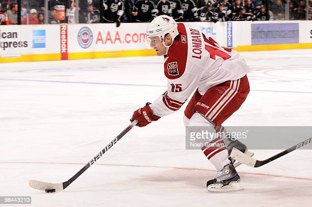 Matthew Lombardi of the Phoenix Coyotes skates with the puck against the Los Angeles Kings on April 8 2010 at Staples Center in Los Angeles California