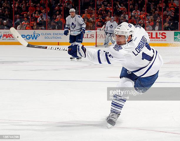 Matthew Lombardi of the Toronto Maple Leafs shoots during an NHL hockey game against the Philadelphia Flyers at Wells Fargo Center on February 9 2012...