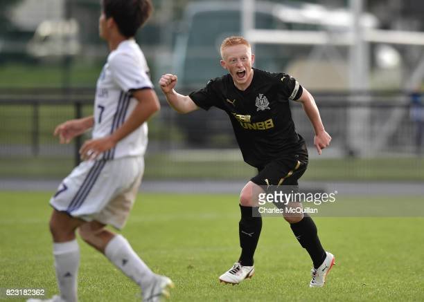 Matthew Longstaff of Newcastle United celebrates after scoring during the Super Cup NI u18 tournament group game between Newcastle United u18's and...