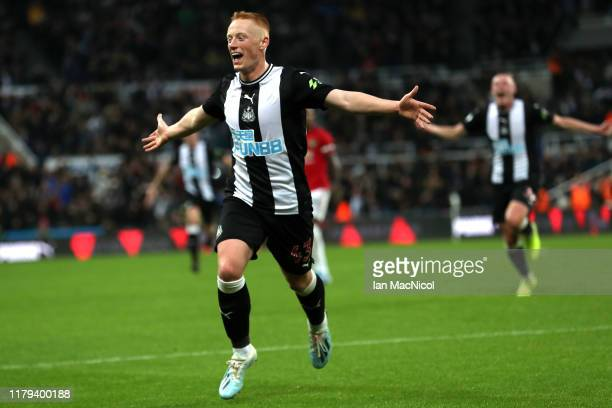 Matthew Longstaff of Newcastle United celebrates after scoring his team's first goal during the Premier League match between Newcastle United and...