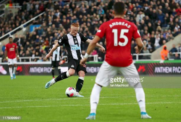 Matthew Longstaff of Newcastle United shoots during the Premier League match between Newcastle United and Manchester United at St. James Park on...