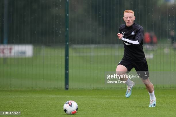 Matthew Longstaff runs on to the ball to make a cross during the Newcastle United Training Session at the Newcastle United Training Centre on October...