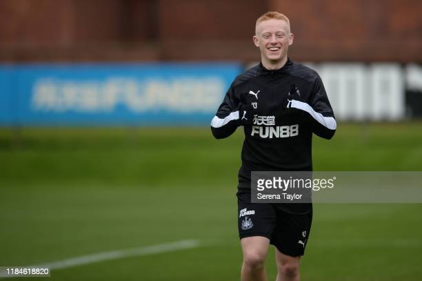 Matthew Longstaff smiles during the Newcastle United Training Session at the Newcastle United Training Centre on October 31, 2019 in Newcastle upon...