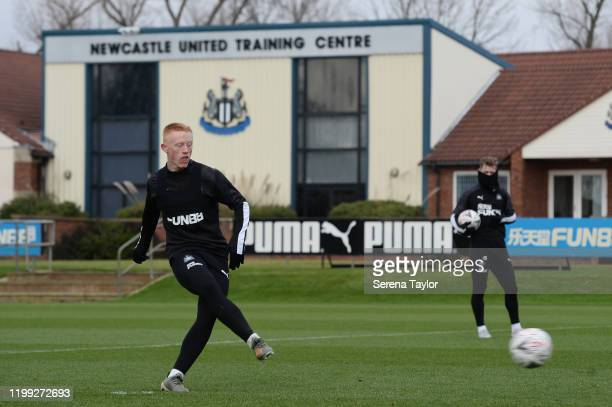 Matthew Longstaff strikes the ball during the Newcastle United Training Session at the Newcastle United Training Centre on January 13 2020 in...