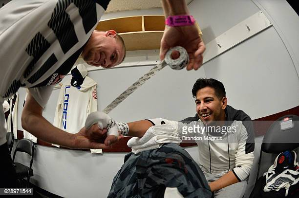 Matthew Lopez gets his hands wrapped backstage during the UFC 206 event inside the Air Canada Centre on December 10, 2016 in Toronto, Ontario, Canada.