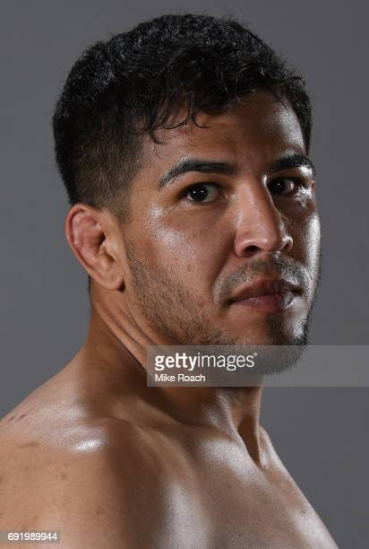 Matthew Lopez poses for a portrait backstage after his victory over Johnny Eduardo during the UFC 212 event at Jeunesse Arena on June 3 2017 in Rio...