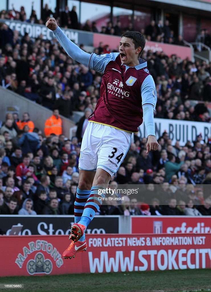 Matthew Lowton of Aston Villa celebrates scoring his team's second goal to make the score 1-2 during the Barclays Premier League match between Stoke City and Aston Villa at the Britannia Stadium on April 6, 2013 in Stoke on Trent, England.