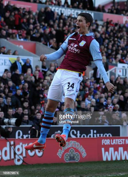 Matthew Lowton of Aston Villa celebrates scoring his team's second goal to make the score 12 during the Barclays Premier League match between Stoke...