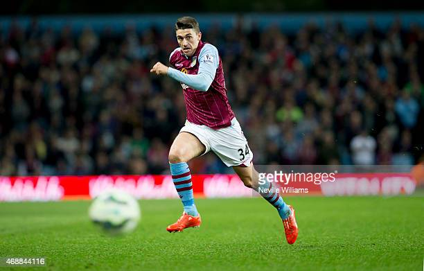 Matthew Lowton of Aston Villa during the Barclays Premier League match between Aston Villa and Queens Park Rangers at Villa Park on April 07 2015 in...