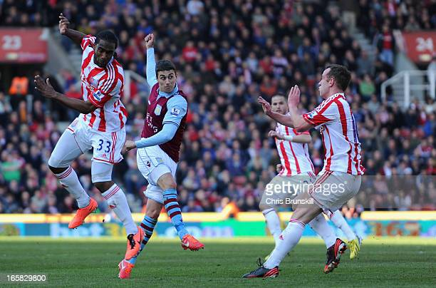 Matthew Lowton of Aston Villa scores his team's second goal to make the score 12 during the Barclays Premier League match between Stoke City and...