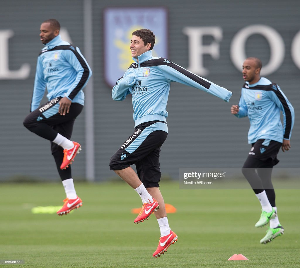 Matthew Lowton of Aston Villa trains with his team mates during a Aston Villa training session at the club's training ground at Bodymoor Heath on April 19, 2013 in Birmingham, England.