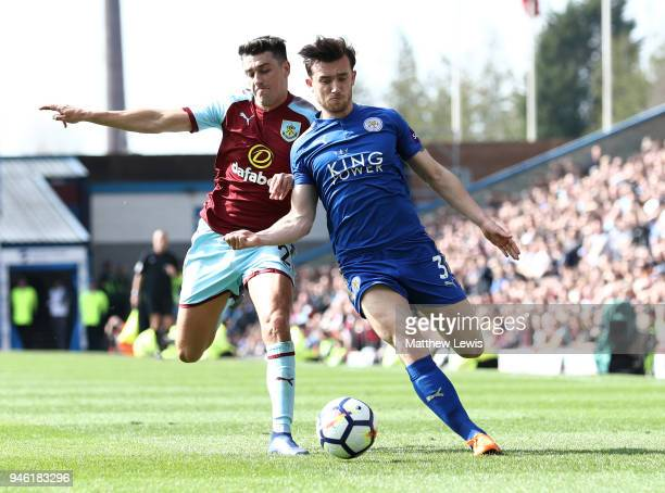 Matthew Lowton of Burnley battles for possesion with Ben Chilwell of Leicester City during the Premier League match between Burnley and Leicester...