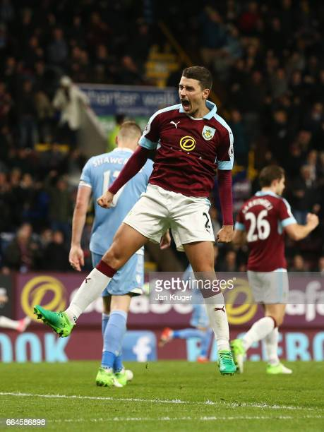 Matthew Lowton of Burnley celebrates after the Premier League match between Burnley and Stoke City at Turf Moor on April 4 2017 in Burnley England