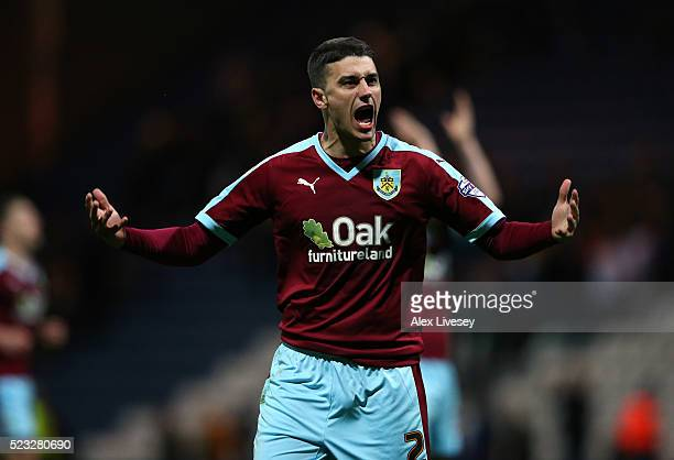 Matthew Lowton of Burnley celebrates after victory over Preston North End in the Sky Bet Championship match between Preston North End and Burnley at...