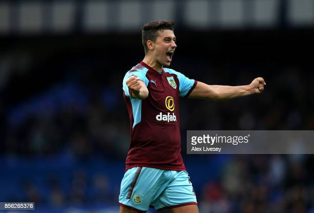 Matthew Lowton of Burnley celebrates victory after the Premier League match between Everton and Burnley at Goodison Park on October 1 2017 in...