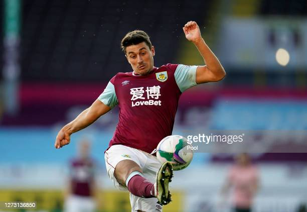 Matthew Lowton of Burnley controls the ball during the Carabao Cup second round match between Burnley and Sheffield United at Turf Moor on September...
