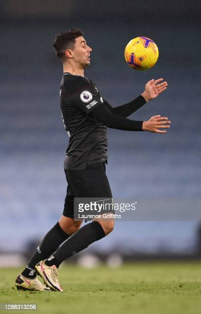 Matthew Lowton of Burnley controls the ball during the Premier League match between Manchester City and Burnley at Etihad Stadium on November 28 2020...