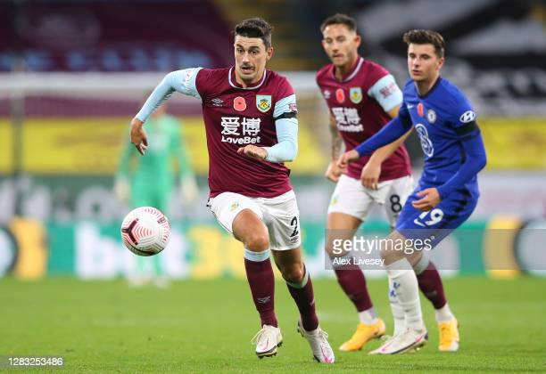 Matthew Lowton of Burnley during the Premier League match between Burnley and Chelsea at Turf Moor on October 31 2020 in Burnley England Sporting...
