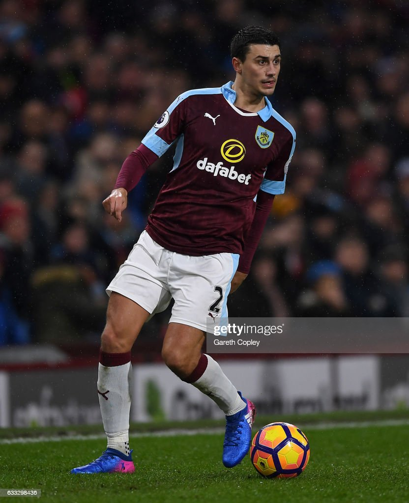Matthew Lowton of Burnley during the Premier League match between Burnley and Leicester City at Turf Moor on January 31, 2017 in Burnley, England.