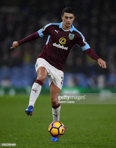 Matthew Lowton of Burnley during the Premier League match between Burnley and Leicester City at Turf Moor on January 31 2017 in Burnley England