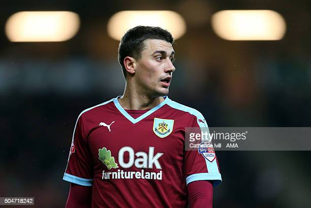 Matthew Lowton of Burnley during the Sky Bet Championship match between MK Dons and Burnley at Stadium mk on January 12 2016 in Milton Keynes England
