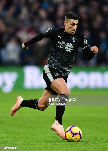 Matthew Lowton of Burnley FC in action during the Premier League match between West Ham United and Burnley FC at London Stadium on November 3 2018 in...