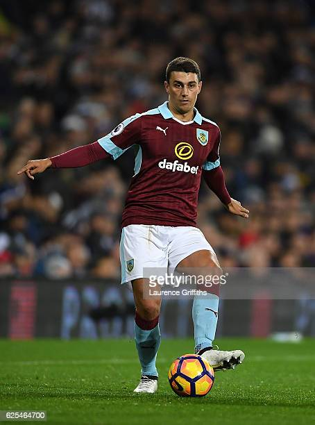 Matthew Lowton of Burnley in action during the Premier League match between West Bromwich Albion and Burnley at The Hawthorns on November 21 2016 in...