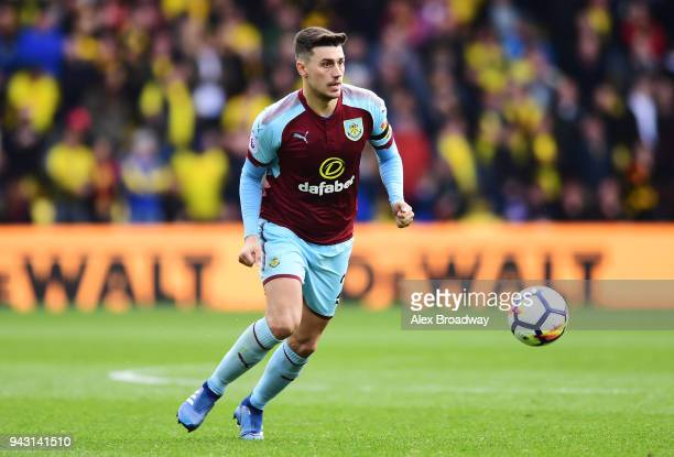 Matthew Lowton of Burnley in action during the Premier League match between Watford and Burnley at Vicarage Road on April 7 2018 in Watford England