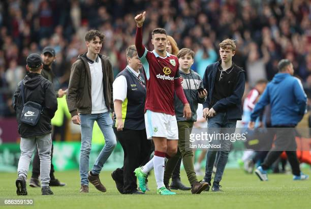 Matthew Lowton of Burnley is seen at full time during the Premier League match between Burnley and West Ham United at Turf Moor on May 21 2017 in...