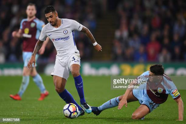 Matthew Lowton of Burnley tackles Emerson Palmieri of Chelsea during the Premier League match between Burnley and Chelsea at Turf Moor on April 19...