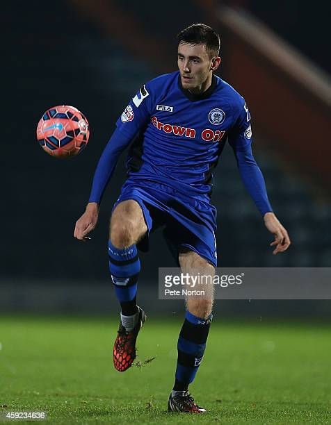 Matthew Lund of Rochdale in action during the FA Cup First Round Replay between Rochdale and Northampton Town at Spotland Stadium on November 18 2014...