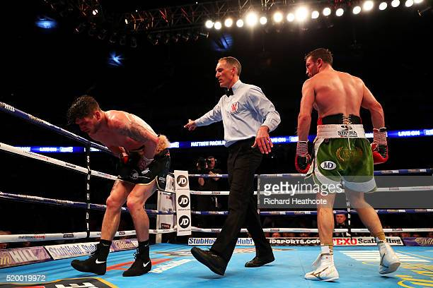 Matthew Macklin of England lands a low blow on Brian Rose of England during the IBF InterContinental Middleweight title fight at The O2 Arena on...