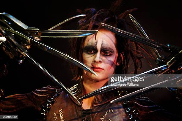 Matthew Malthouse performs a scene from the stage production of Edward Scissorhands at the Sydney Opera House on January 29 2008 in Sydney Australia