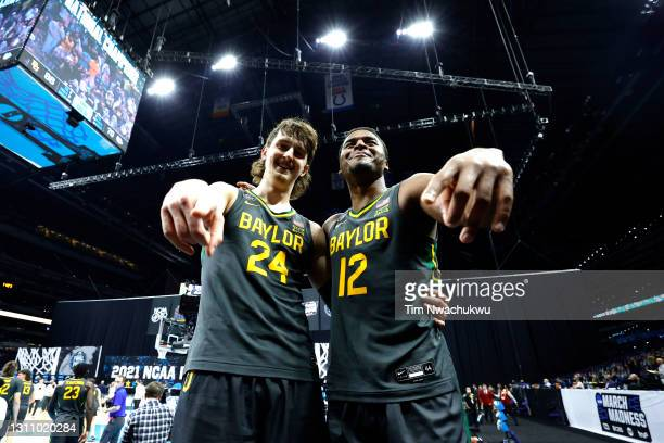 Matthew Mayer and Jared Butler of the Baylor Bears celebrate after defeating the Gonzaga Bulldogs 86-70 in the National Championship game of the 2021...