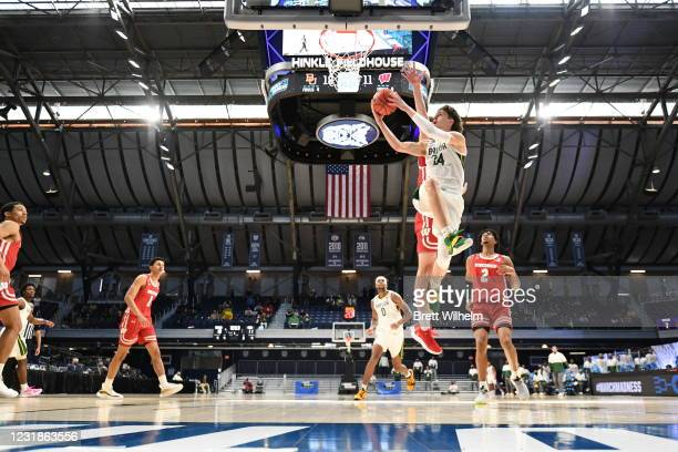 Matthew Mayer of the Baylor Bears shoots a basket against the Wisconsin Badgers in the second round of the 2021 NCAA Division I Men's Basketball...