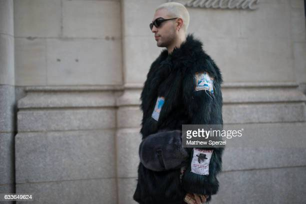 Matthew Mazur is seen attending Palomo Spain while wearing a Martine Rose coat on February 2 2017 in New York City