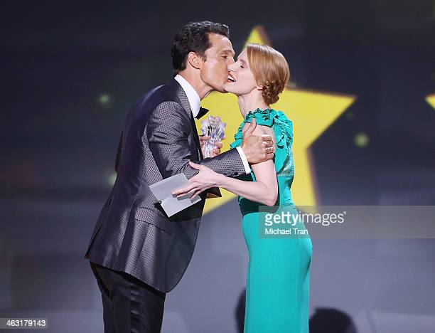 Matthew McConaughey accepts the Best Actor award for 'Dallas Buyers Club' from actress Jessica Chastain onstage during the 19th Annual Critics'...