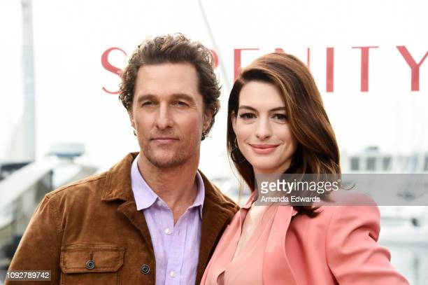 Matthew McConaughey and Anne Hathaway attend the Aviron Pictures Serenity photo call at the Ritz Carlton Hotel on January 11 2019 in Marina del Rey...